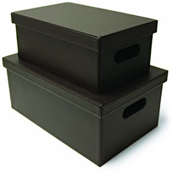 Faux Leather Storage Boxes, Set Of 2, Brown