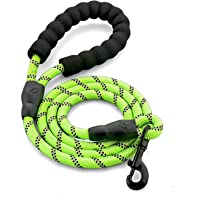 5FT Reflective Dog Leash with Soft Padded Handle & High Reflective Threads Rope Leash Durable Safety Climbing Walking Dog Lead for Medium Large Dogs (5FT, Green)