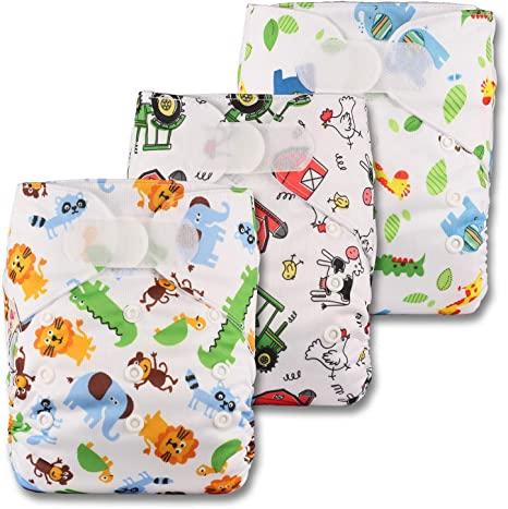 Set of 1 Littles /& Bloomz with 2 Microfibre Inserts Reusable Pocket Cloth Nappy Fastener: Hook-Loop Pattern 11