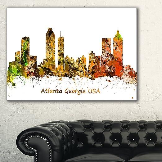 Design Art Atlanta Georgia Skyline Cityscape - Trendy abstract orange wall art