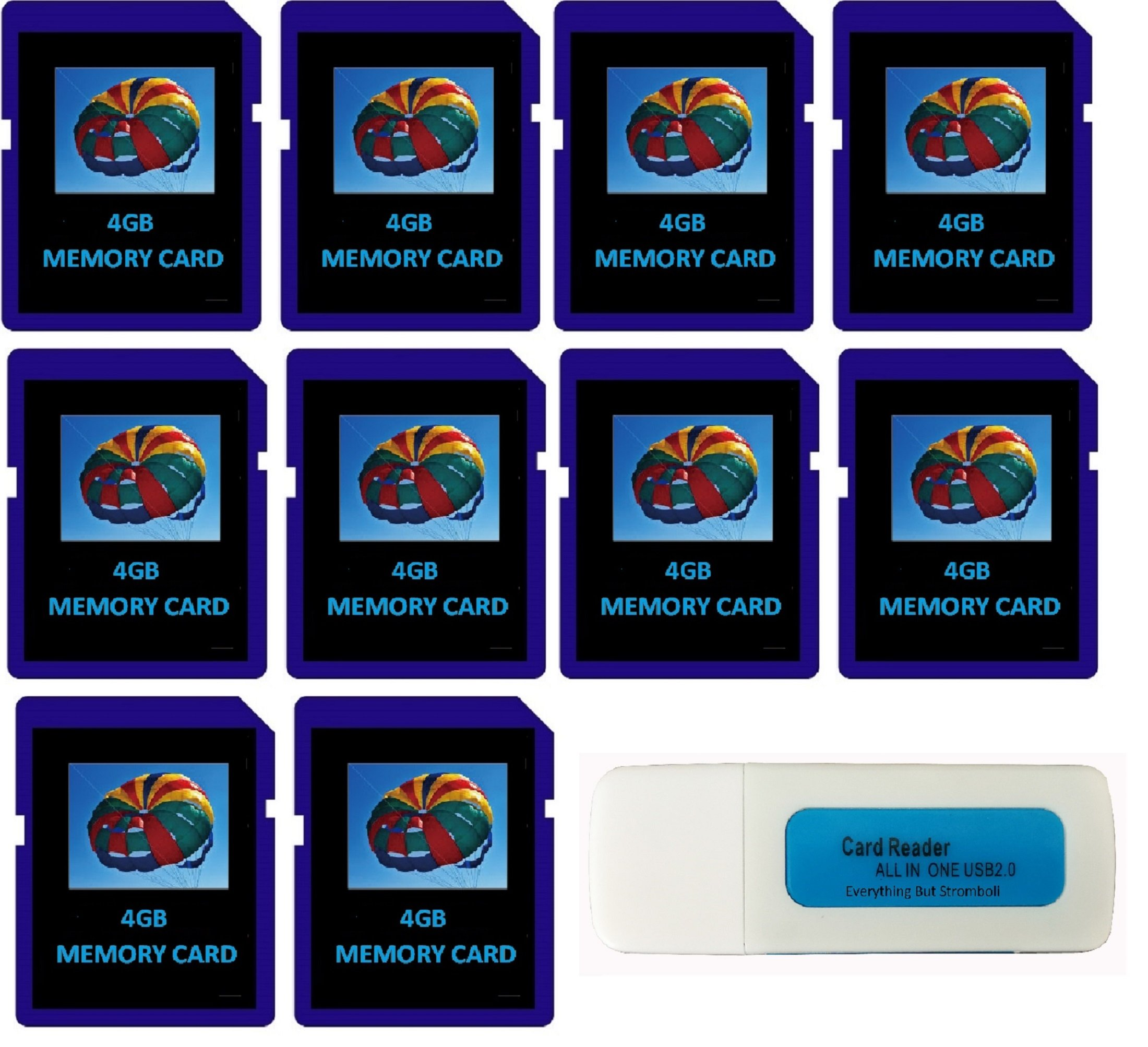 4GB SDHC Class 10 Everything But Stromboli 10-Pack SD Style Flash Memory Card Wholesale Bulk Lot works with Digital, Trail, Canon, Nikon, Game Camera with Everything But Stromboli (tm) Combo Reader by Everything But Stromboli