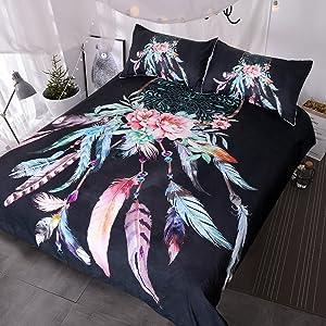 BlessLiving Big Dreamcatcher Colors Bedding, 3 Piece Dream Catcher Duvet Cover Set, Boho Doona Cover Hippie Bedspread Coverlet (Queen, Black)