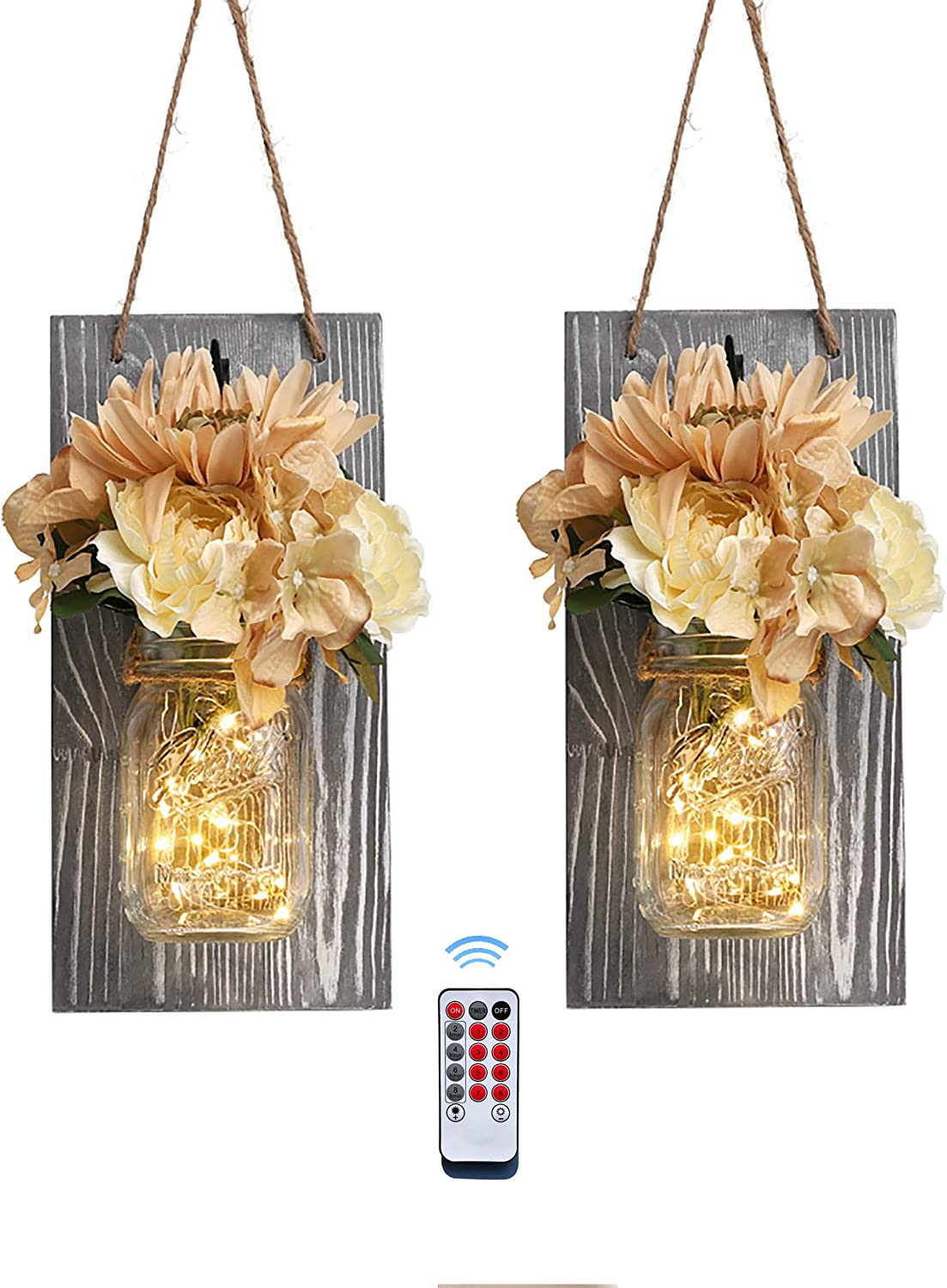 Besuerte Rustic Mason Jar Wall Decor Sconces Country Vintage Farmhouse Home Bedroom Living Room Wall Art Decor with Wireless Remote,Rose Flowers&LED Fairy Lights,Set of 2(Large, Gray)