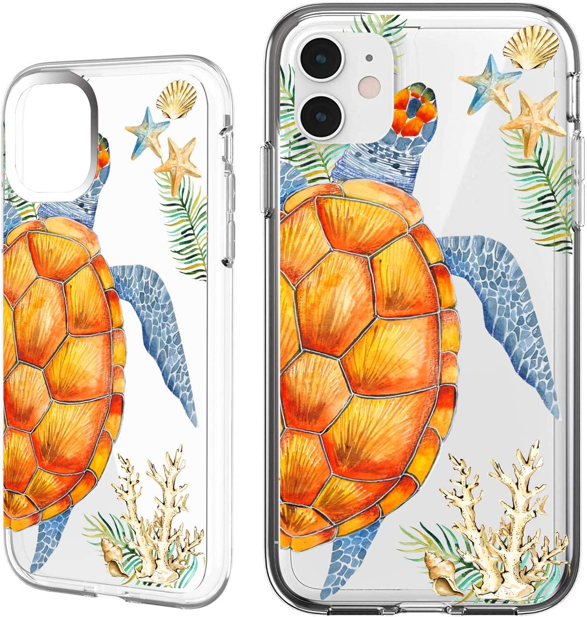 Shark Compatible Summer Aloha Ocean Collection Sea Shell sea Turtle Clear Back case for iPhone 6 Plus