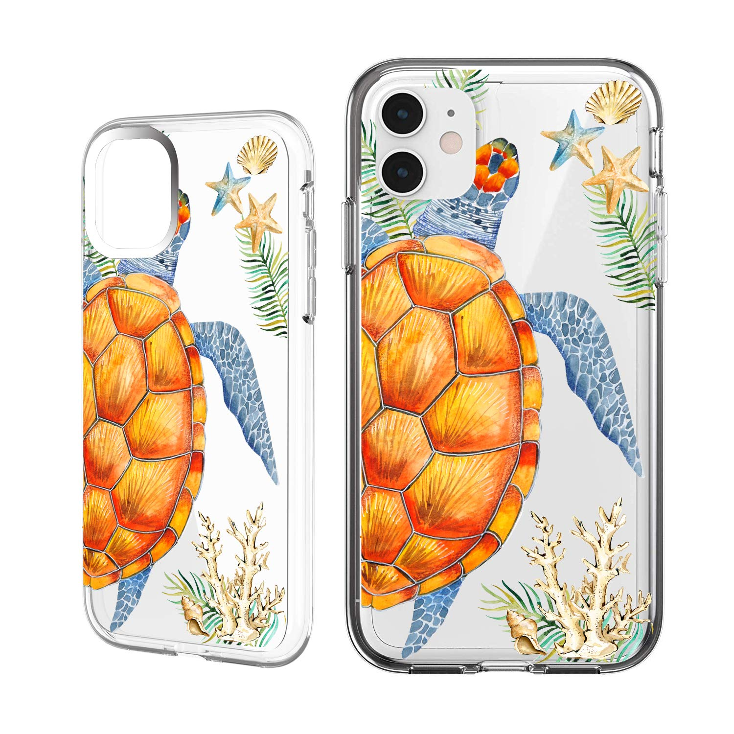 Shark Compatible Summer Aloha Ocean Collection Sea Shell Sea Turtle Clear Back Case For Iphone X Iphone Xs