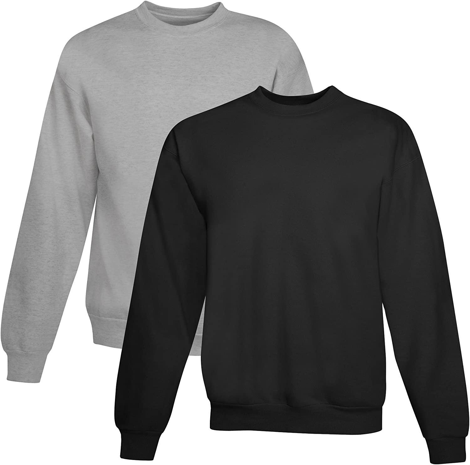 Hanes Mens EcoSmart Fleece Sweatshirt 1 Light Steel//1 Black, Pack of 2