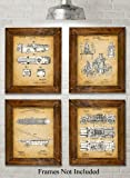 Original Fire Fighter Patent Art Prints - Set of Four Photos (8x10) Unframed - Great Gift for Firefighters