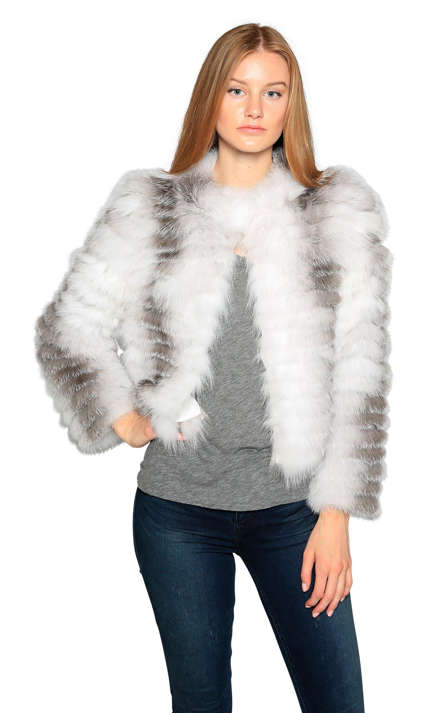 Love Token Lily Genuine Fox Fur Jacket, Multi-White, XS