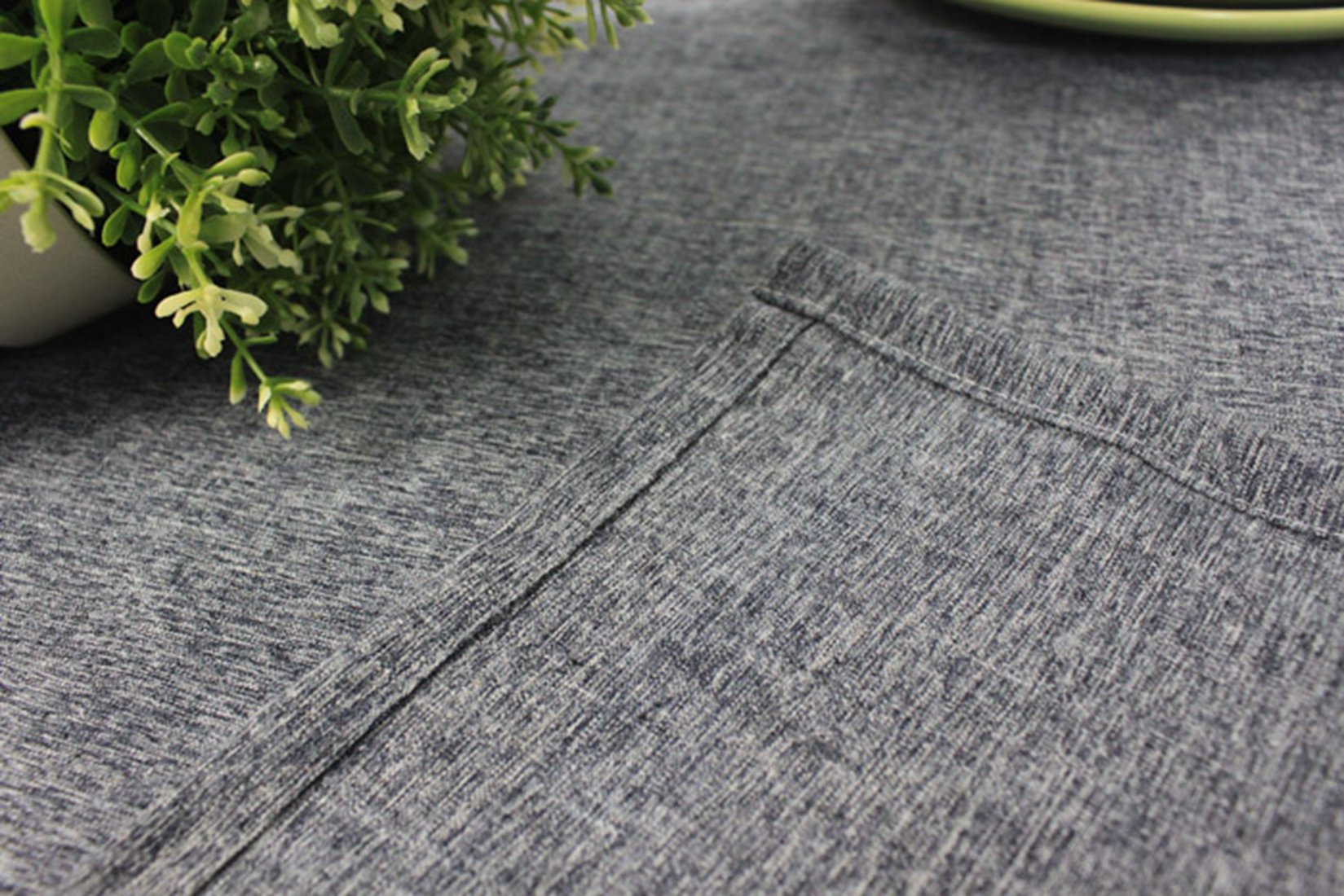 Cotton and Linen, Machine Washable, Everyday Chambray Kitchen Tablecloth For Dinner Parties, Summer & Outdoor Picnics(Gray,55x70.7In) by LINENLUX (Image #4)