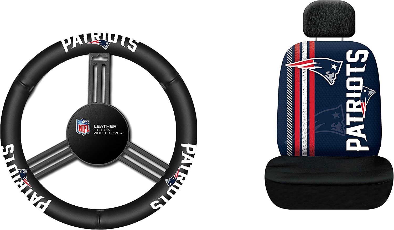 Fremont Die New England Patriots Leather Steering Wheel Cover