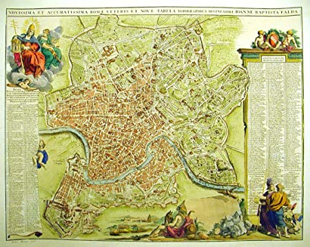 graphic about Printable Map of Ancient Rome identify Print of Artwork - Map of Historic Rome, 1670 - 80 x 60 cm