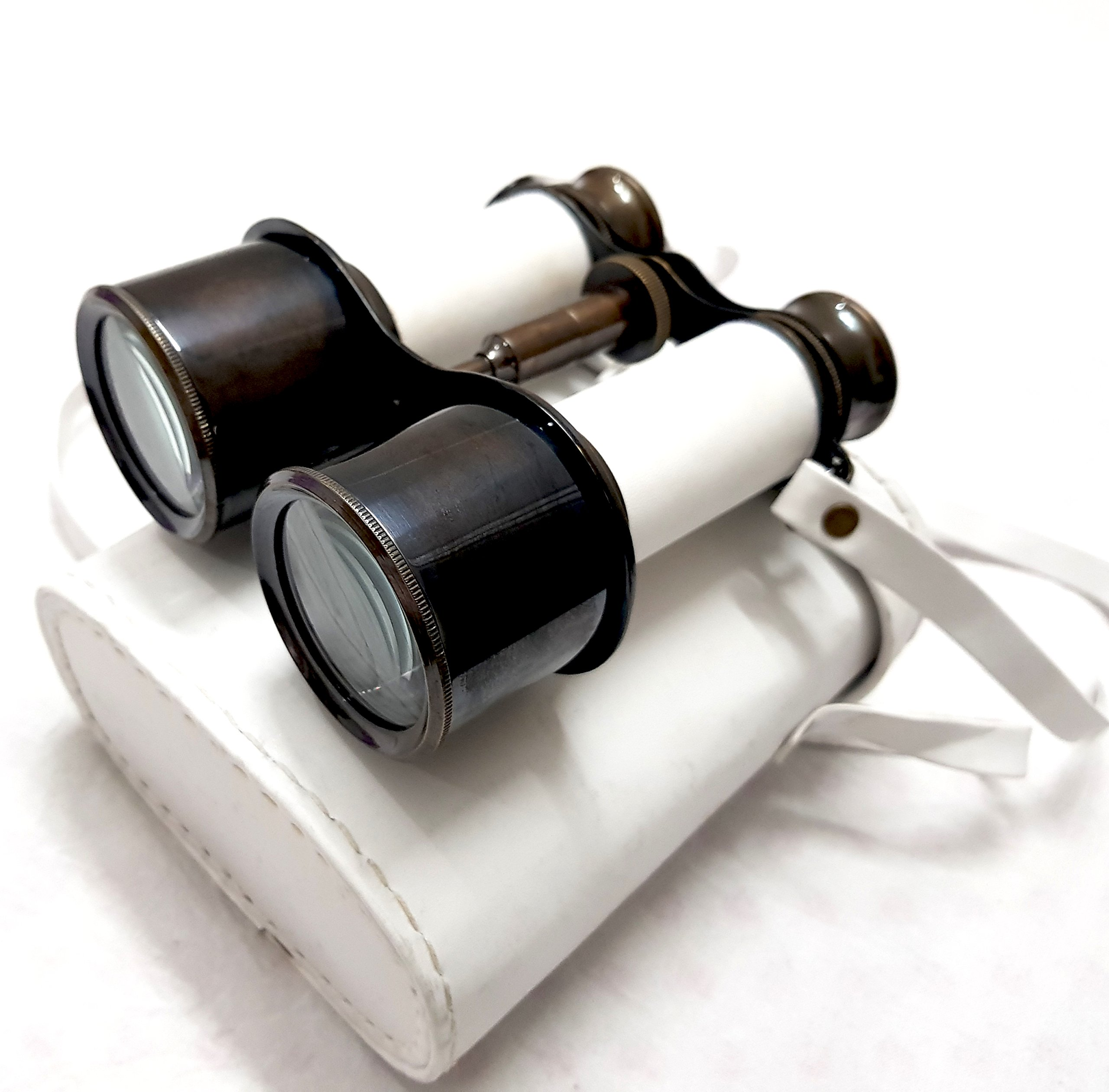 Black and White James Bond Brass Binocular with Royal Leather Case Nautical Action Monocular - collectiblesBuy by collectiblesBuy