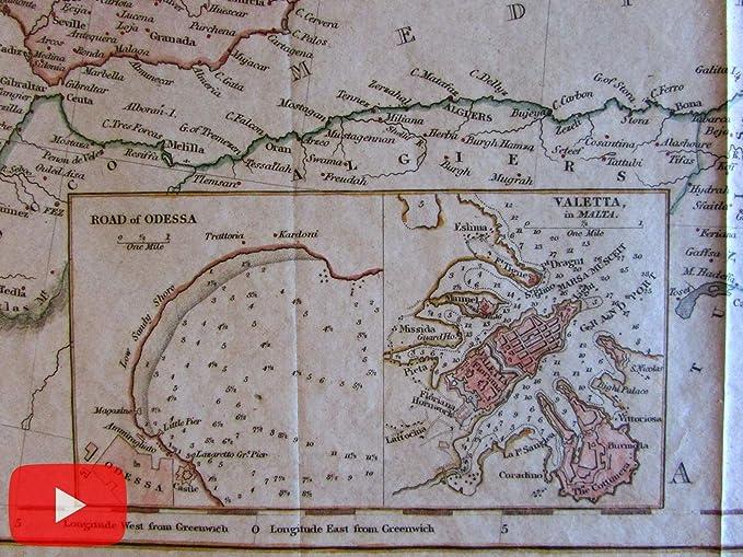 Amazon Com Valetta Malta Harbor Europe 1848 Old Map Road Of Odessa