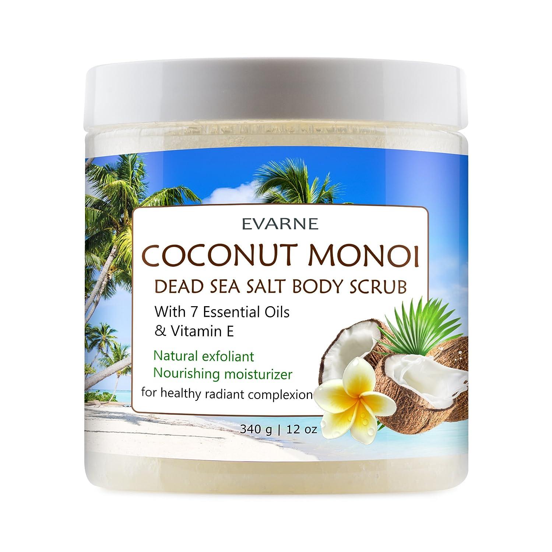 Evarne Coconut Monoi Dead Sea Salt Body Scrub with 7 Essential Oils and Vitamin E