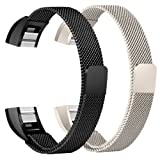 For Fitbit Alta HR and Alta Bands, bayite Replacement Milanese Loop Stainless Steel Metal Bands Small Large Silver Rose Gold Black