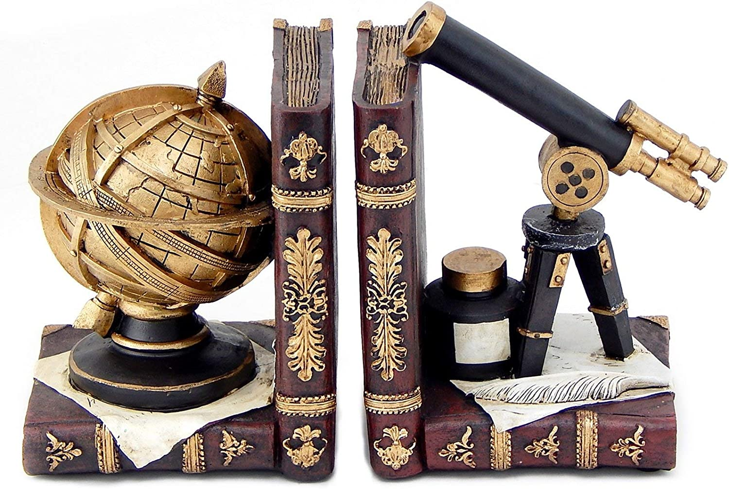 Bellaa 26355 Astronomy Bookends Galileo Space Time Book Decor 6 inch