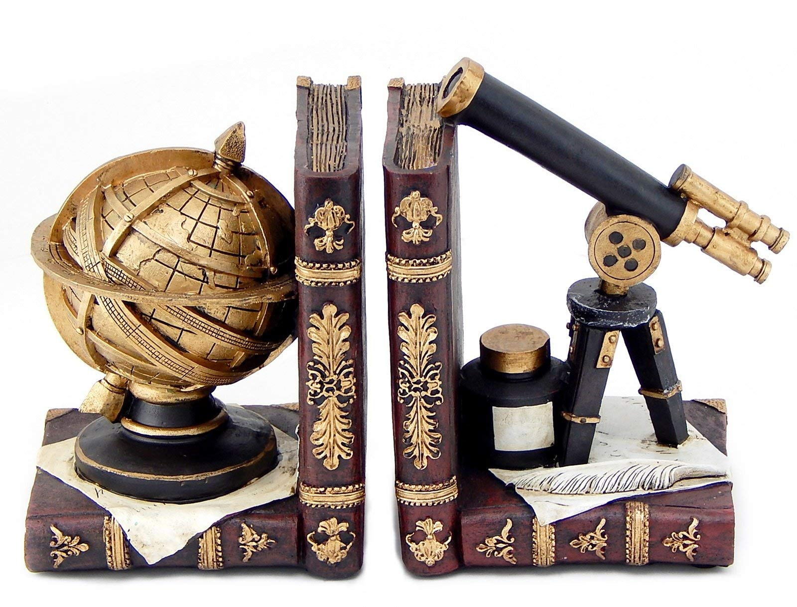 Bellaa 26355 Astronomy Bookends Galileo Space Time Book Decor 6 inch by Bellaa
