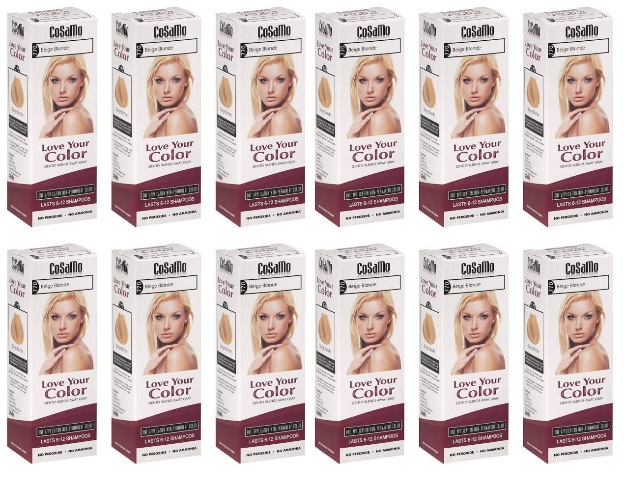 CoSaMo - Love Your Color Non-Permanent Hair Color 770 Beige Blonde - 3 oz. (Pack of 12) + FREE Travel Toothbrush, Color May Vary