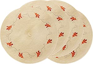 wartleves Fall Placemats Set of 4 Embroidered Leaf Placemats for Dining Table Round Placemats for Fall Autumn Thanksgiving Decorations 15 Inch