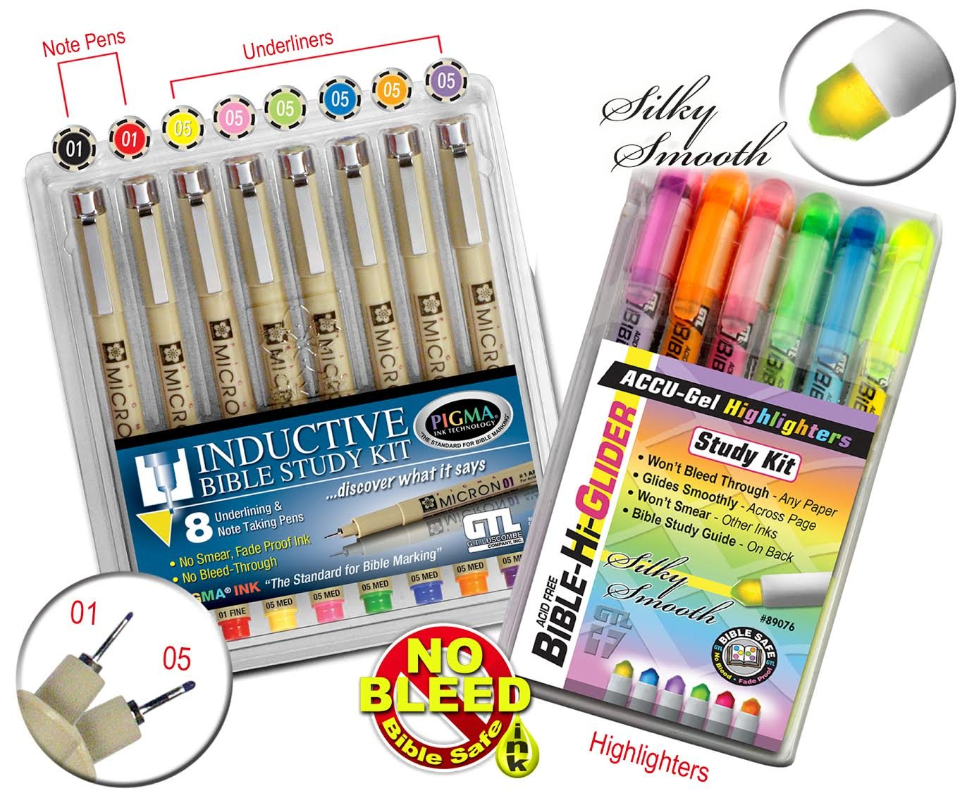 GTL Bible Study Bundle 6 Accu-Gel Gel Highlighters and 8 Pigma Micron Multi Color Fine and Medium Point by G.T. Luscombe Company, Inc. (Image #4)