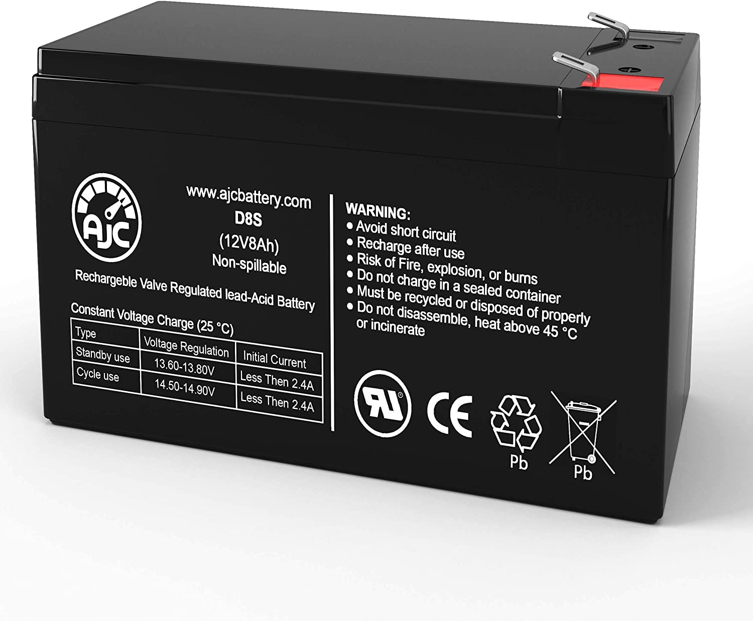 APC Back-UPS ES 550 8 Outlet 550VA 12V 8Ah UPS Battery - This is an AJC Brand Replacement