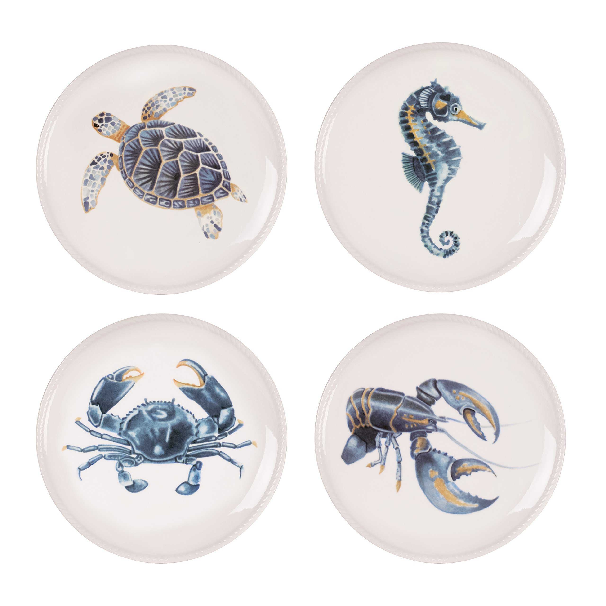 Cape Coral Collection, Assorted Accent Plates (Set of 4), White