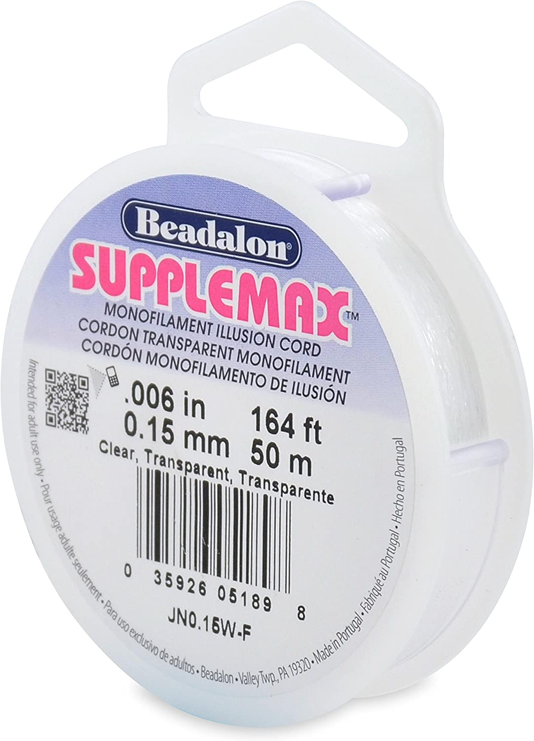 Clear Beadalon Supplemax 0.15mm Nylon Bead Stringing Material 50m
