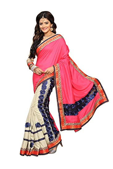 93fe35df52b7 Culture Fab Silk Half And Half Embroidery Party Wear Wedding Latest Designer  Saree With Blouse Piece For Women(SSV-7023_Pink_Free Size): Amazon.in:  Clothing ...