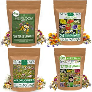 Wildflower Seeds Collection Bundle - Perennial, Annual, & North American Wildflower Seed Bundle - Large Flower Seed Pack