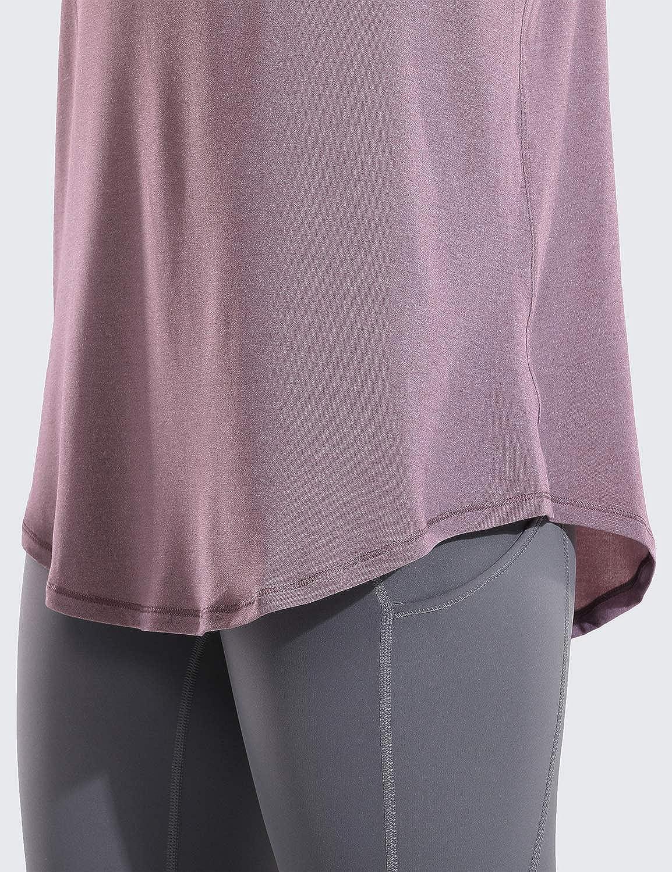CRZ YOGA Damen V Neck Sport T-Shirt Tanktop Oberteil Laufen Fitness Funktions Shirt