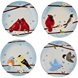 Peace, Love and Birds by Pavilion 6-1/2-Inch Individual Designs Plates, Set of 4