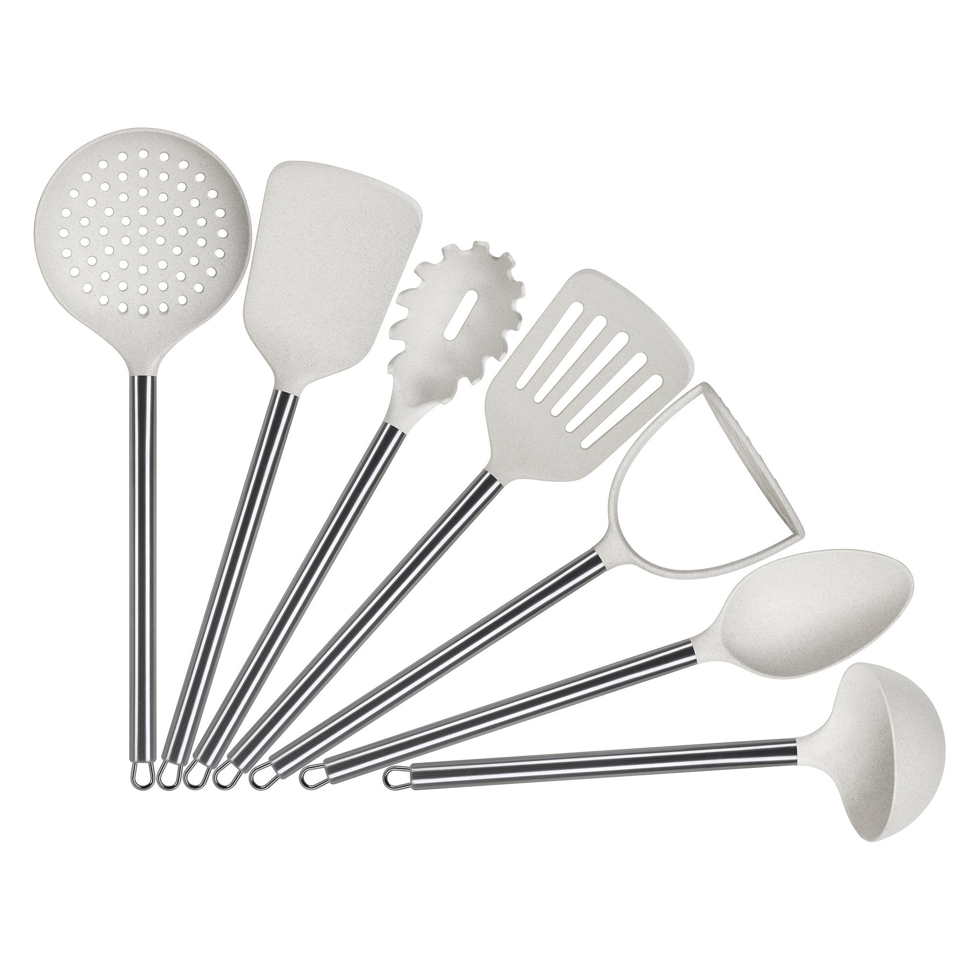 ELFRhino Cooking Utensil Set Home Kitchen Cooking Utensils Tool and Gadget Set of 7 Includes Slotted Spoon Spatula Spaghetti Server Slotted Spatula Potato Masher Long Spoon Ladle