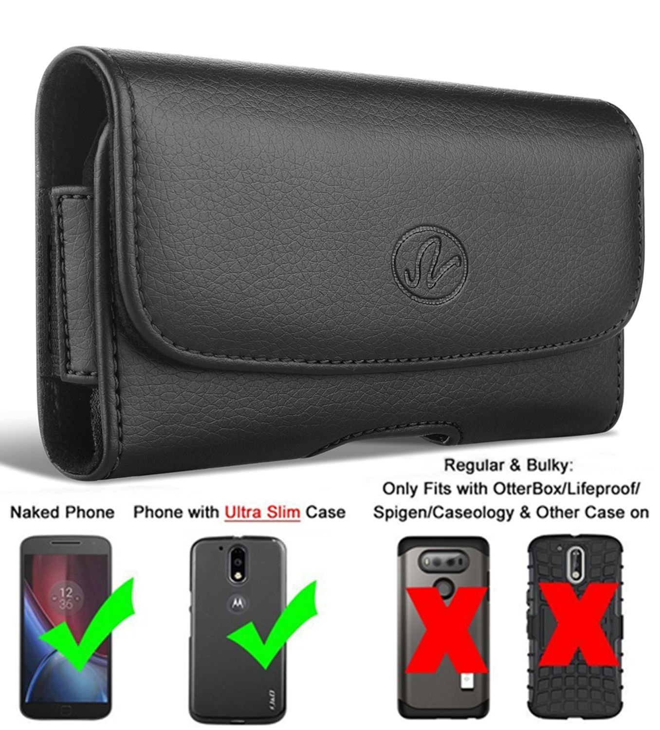 Apple iPod touch 4th generation Horizontal Leather Carrying Case Holster Belt Clip NEM Electronics