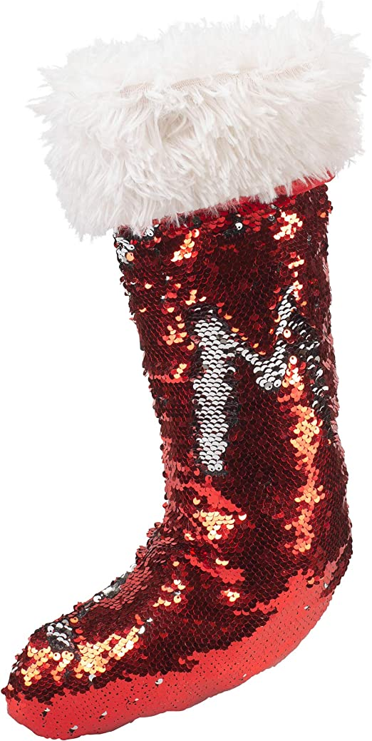 Seasons Designs 18 inch Flip Flap Sequin Rosy Red Silver Tone Fabric Christmas Stocking Fur Cuff