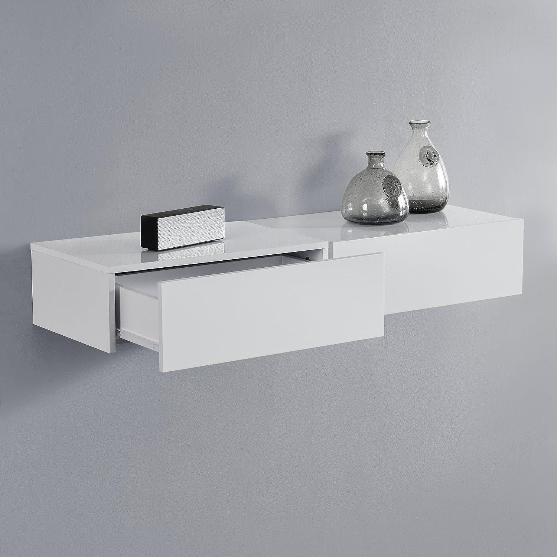 En Casa Wandregal Mit Schublade 2er Set Weiss Hochglanz 46x30x15cm