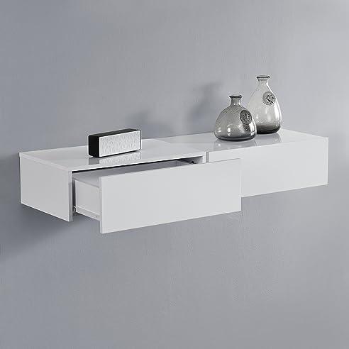 en.casa]® Wandregal mit Schublade 2er-Set - Weiß hochglanz ...