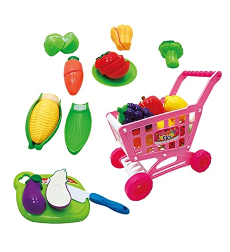 4d41c6632c55 Amazon.com: Mozlly Grocery Shopping Cart & Food Cutting Kitchen ...