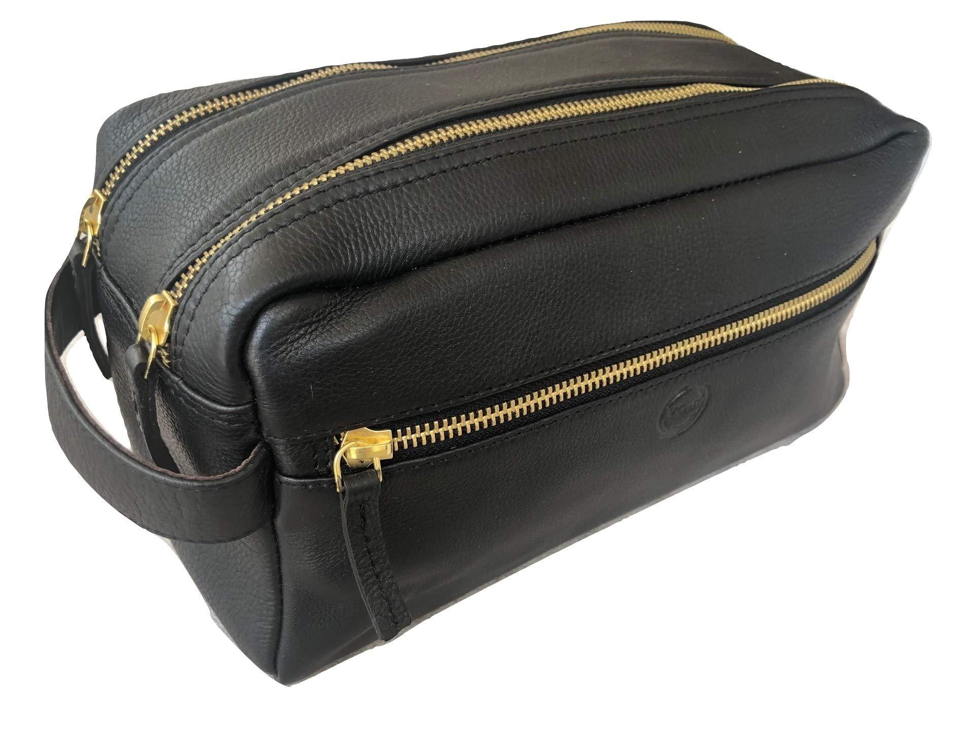 Leather Toiletry Bag for Men or Women Handmade Travel Dopp Kit Shaving Bag Makeup Organizer Perfect Gift for Men Women by Vintage Crafts