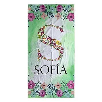 Lolapix Toalla Personalizada Flores con Nombre. Regalo Original Bebé. Recien Nacidos. Tamaño 50x100. Diferentes diseños: Amazon.es: Hogar