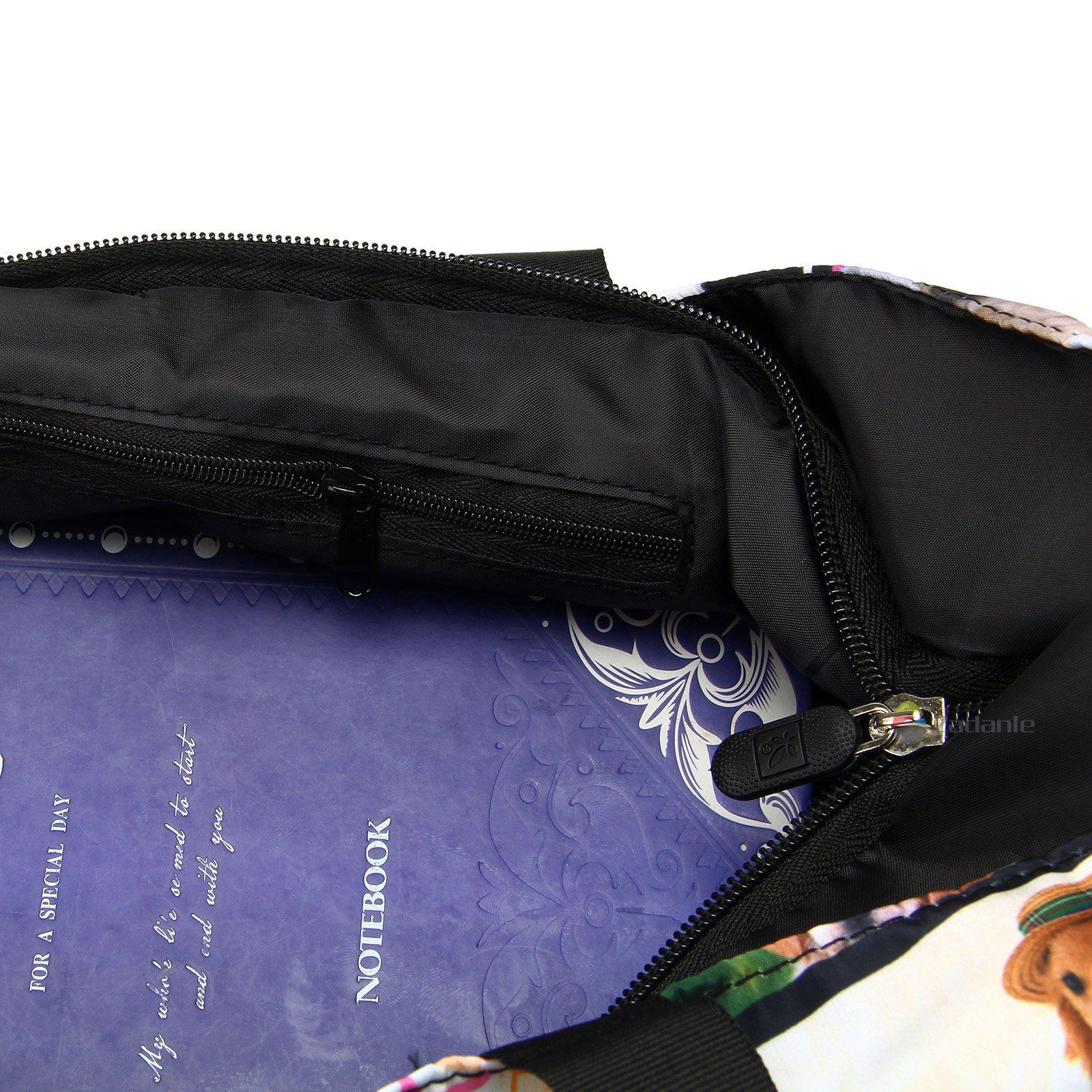 Newplenty Ladies Zippered Light Shoulder Shopping Tote Bag Handbag Beach Satchel, Many Dogs by newplenty (Image #6)