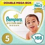 حفاضات للاطفال من بامبرز عناية مميزة، حجم 5، جونيور، 11 - 18 كغ، عبوة التوفير الضخمه من 168 قطعة