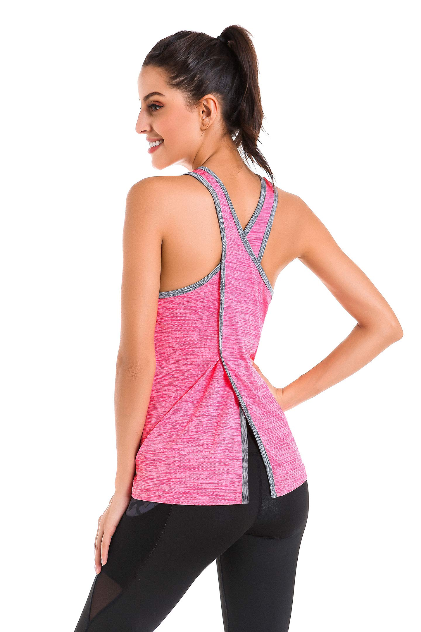 Fresca Womens Open Back Yoga Shirts Racerback Workout Tank Tops Pink Medium