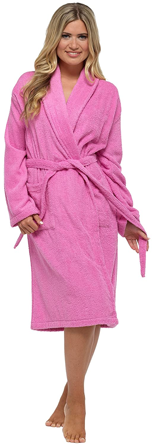 Ladies Womens Towel Dressing Gown Robe 100% Cotton Hotel Spa ...