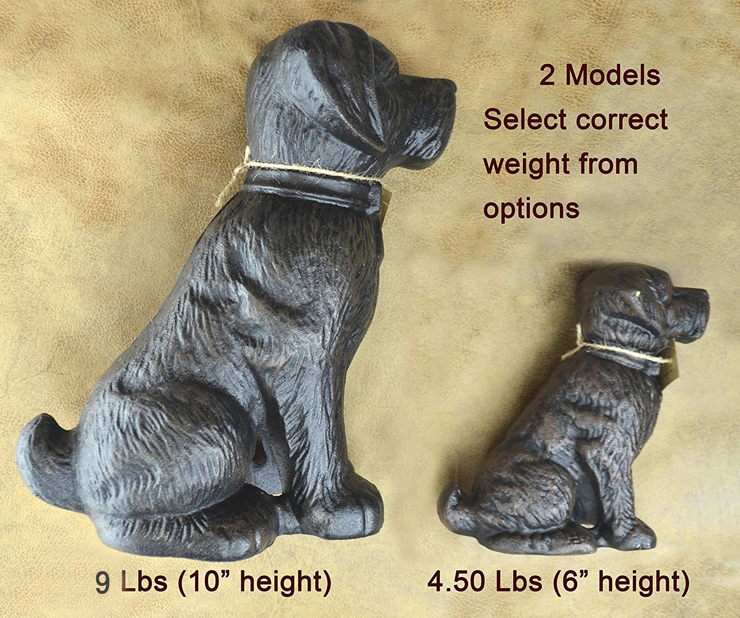 LuLu Decor, 100% Cast Iron Dog Door Stopper, Doorstop, Sculpture, Dog Statue, 6'' Height, Weighs 4.50 lb, Antique Brown (Brown 4.50 lb) by Lulu Decor (Image #3)