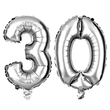 Ella Celebration Non Floating 30 Number Balloons 30th Birthday Or Anniversary Party Decorations And