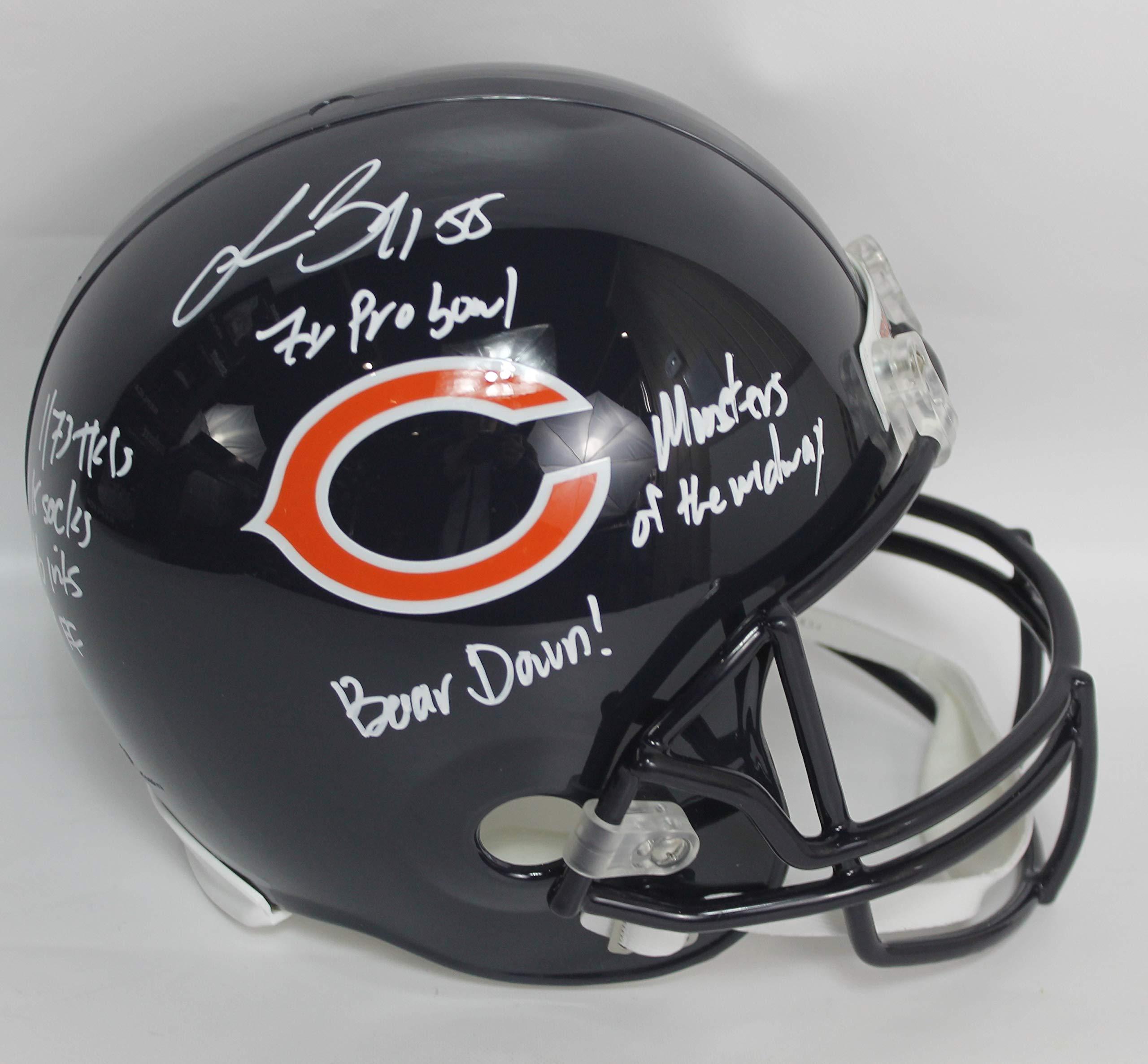 Lance Briggs Autographed Chicago Bears Full Size Riddell Replica Football Helmet w/Inscriptions JSA COA