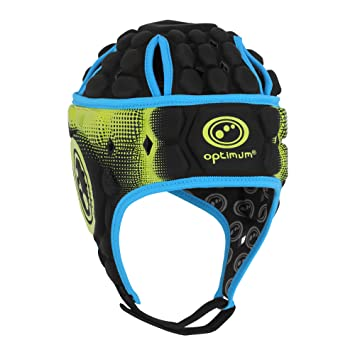 Optimum Atomic - Casco de Rugby, Color Negro (Black/Blue/Yellow)