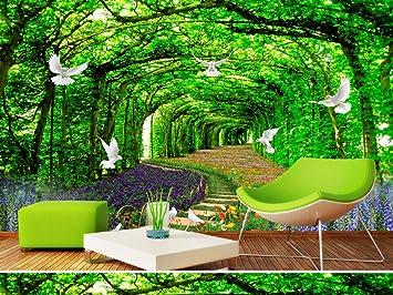 Parque maderas jardín 3d mural paisaje fondo pared sala de estar decoración del hogar (W)400x(H)280cm: Amazon.es: Bricolaje y herramientas