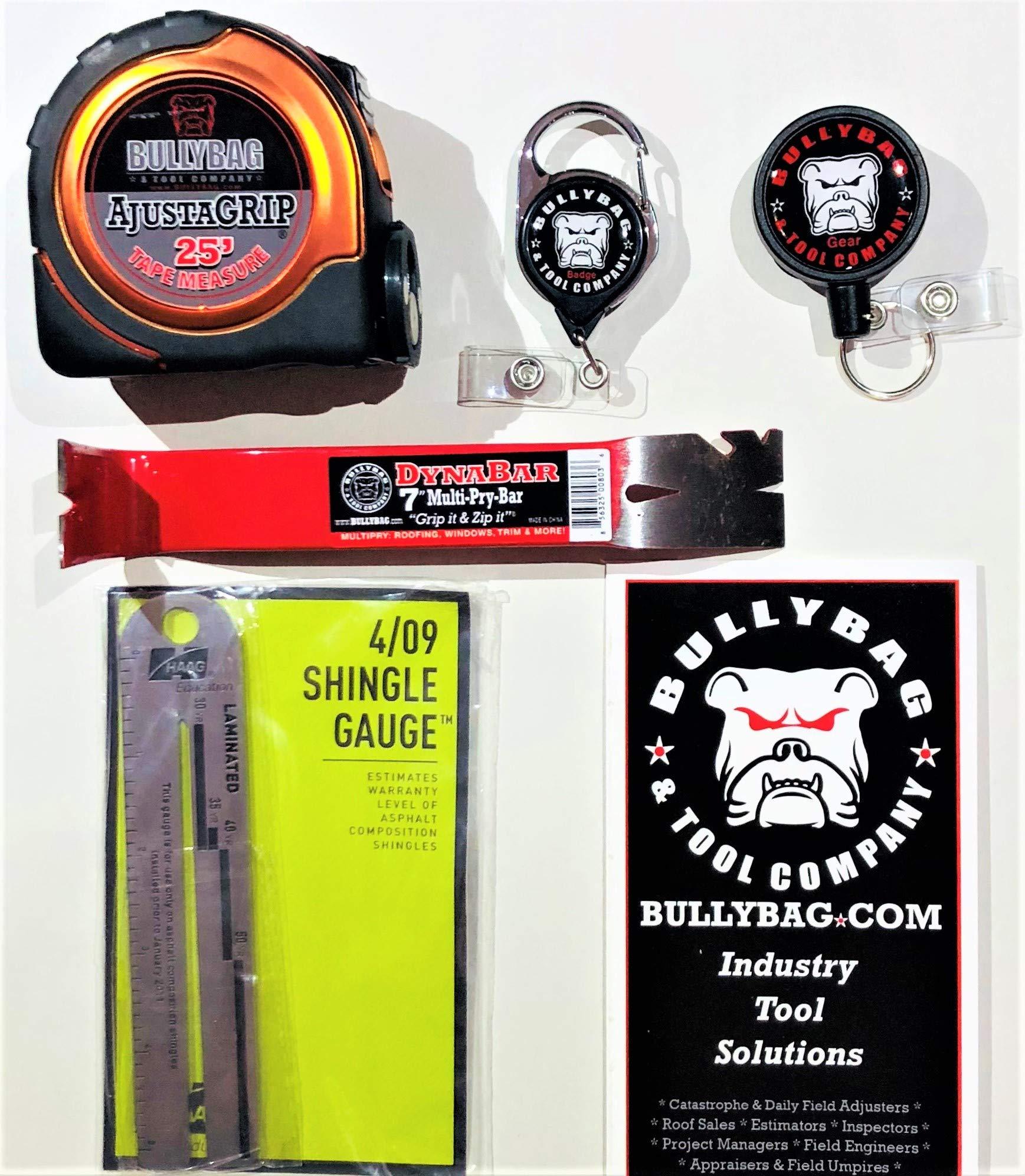 5 Pack of Tools - Haag 4/09 Shingle Gauge; BullyBag AdjustaGRIP 25' Tape Measure; BullyBag DynaBar 7'' Pry Bar; BullyBag Retractable Badge Retainer & BullyBag Gear Retainer