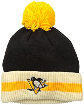 344ab0a7624 Image Unavailable. Image not available for. Colour  Pittsburgh Penguins CCM  NHL  quot Retro Logo quot  Striped Cuff Knit Hat ...